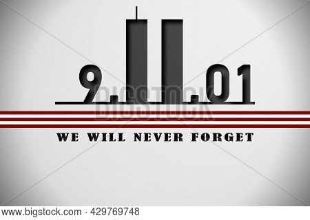 Patriot Day. Date 9.11.01 On A White Background In Detail.