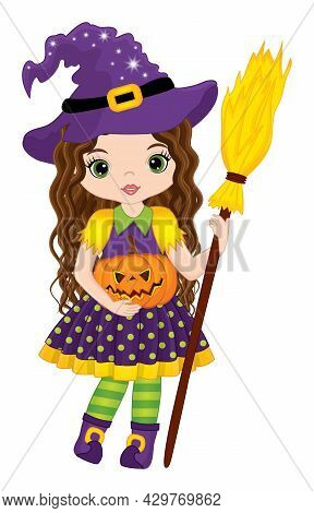 Vector Cute Witch Holding Broomstick And Pumpkin. Halloween Witch Is Brunette With Long Hair. Hallow