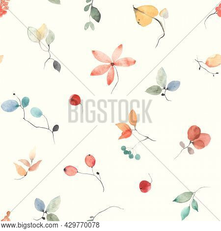 Floral abstract pattern, seamless colorful print, autumn watercolor illustration on ivory background.