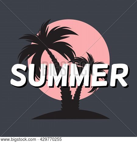 Summer Time Background Icon With Palm Tree Silhouette. Vector Illustration