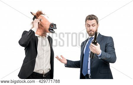 Man In Horse Head Talk On Phone While Manager Drink Wine Celebrating Corporate Party, Celebration