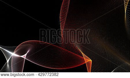 Abstract Colorful Wavy Background In Bright Neon Colors. Motion. Curving Chaotic Flight Of Bended St