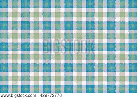 Turquoise Green Blue Checkered Old Vintage Background With Blur, Gradient And Grunge Texture. Classi