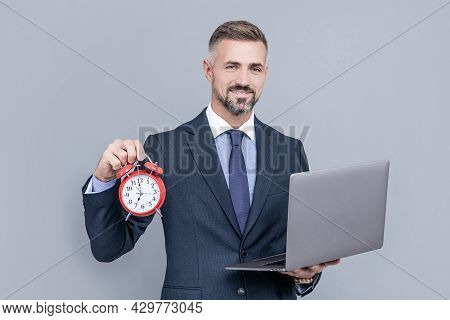 Deadline. Time. Mature Businessman Working Online. Business Success. Time Management.
