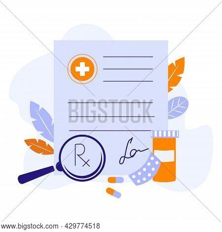 Prescription Paper Vector Concept Illustration. Online Prescription Vector Concept. Flat Vector Cart