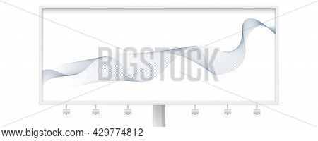 Billboard With Waving Lines. Isolated On White Background. Smoke Effect From Blended Lines. Vector I