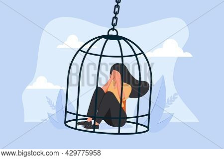 Inner Prison As Mental State With Thought Stuck And Block Tiny Person Concept. Psychological Mindset