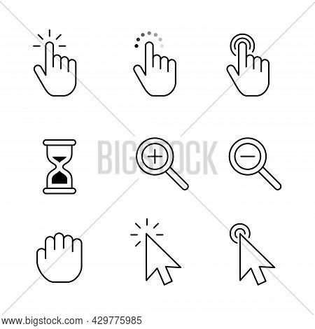 Finger And Arrow Pointer Outline Icon Set. Finger Clicks On The Screen With Gesture Index Finger Tap