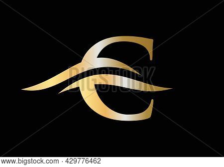 Water Wave C Letter Logo Vector. Swoosh Letter C Logo Design For Business And Company Identity