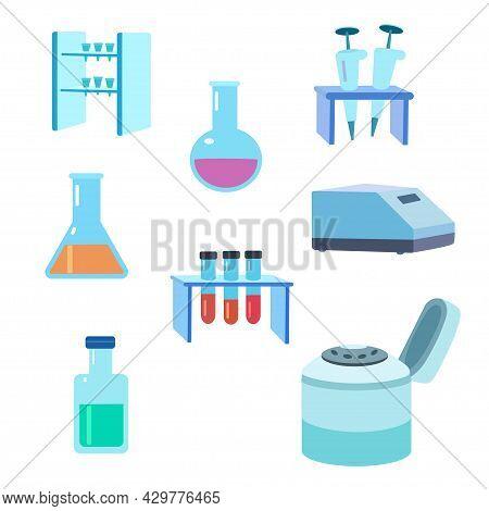 Laboratory Biotechnology Molecular Biological Equipment Isolated On White Background