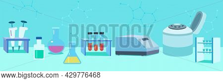 Banner On The Theme Of Molecular Biology And Biotechnology, Laboratory Equipment And Instruments For