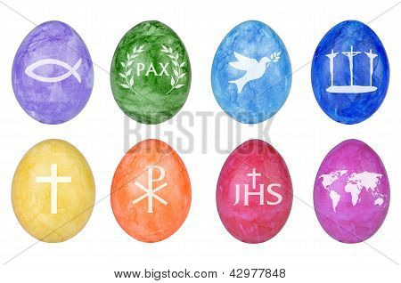 Easter eggs with different christian symbols isolated poster