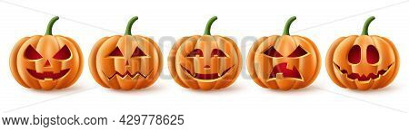 Halloween Pumpkins Vector Set. Halloween Pumpkin Element Collection In Spooky, Scary And Creepy With