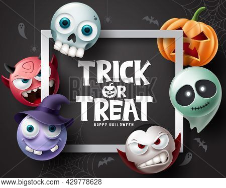 Halloween Character Vector Background. Halloween Trick Or Treat Text With Pumpkins, Ghost, Vampire A