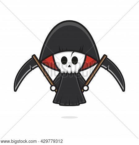 Cute Grim Reaper Holding Scythe Halloween Cartoon Icon Illustration. Design Isolated Flat Cartoon St