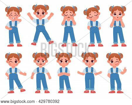 Cartoon Cute Little Girl Face Emotions And Expressions. Kid Character Feel Happy, Sad, Angry, And Su