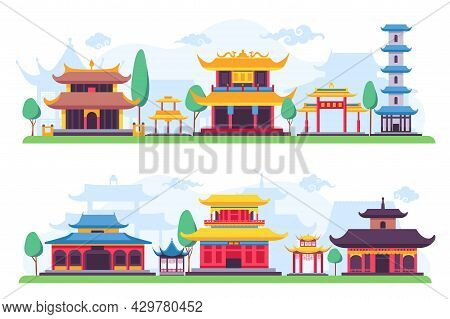 Flat Chinatown Or Ancient Chinese City Street Landscape. Asian Old Buildings, Houses, Temples And Pa