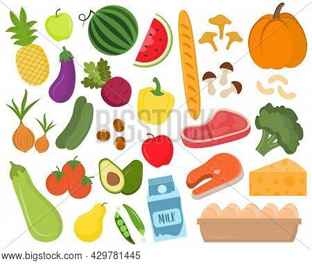 Set Of Colorful Food Elements. Bakery, Meat, Fish, Fruits And Vegetables. Healthy Fresh Nutrition. G