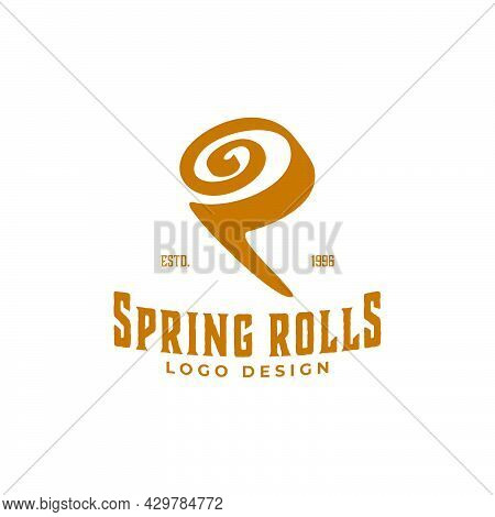 Illustration Spring Roll Vietnamese Recipe Food Vintage Logo Design Inspiration