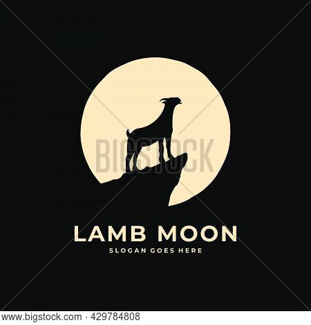 Silhouette Of Sheep Howling In The Middle Of The Night In The Shadow Of The Moonlight