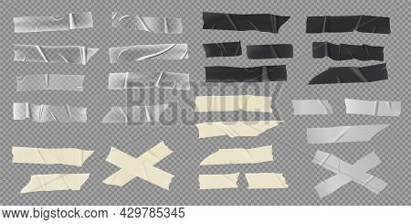 Realistic Adhesive Tape, Paper Masking Strips, Transparent Stickers. Black Sticky Duct Tapes With To