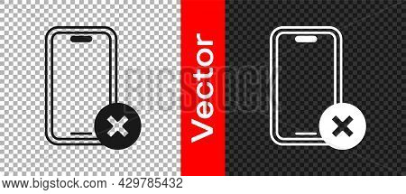 Black No Cell Phone Icon Isolated On Transparent Background. No Talking And Calling Sign. Cell Prohi