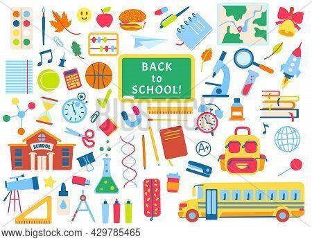 Back To School Hand Drawn Elements, School Supplies Doodles. Books, Notebooks, Chalkboard. Children