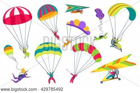 Skydivers With Parachutes. Professional Parachutist Or Skydiver Flying In Sky. Extreme Sports, Skydi