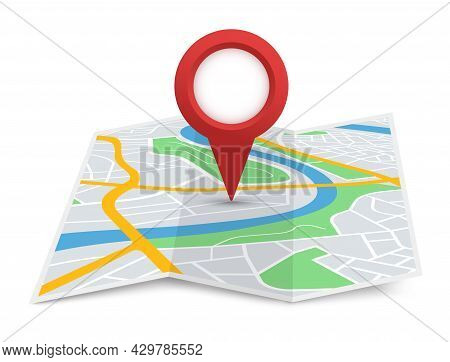 Folded City Map With Destination Pointer, Gps Navigation. Red Location Pin Marker On 3d Paper Street