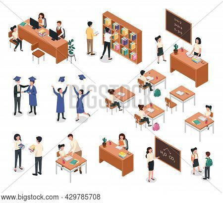 Isometric School. Teacher Giving Lesson To Students. Pupils With Backpacks. Classroom Furniture And