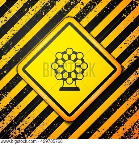 Black Ferris Wheel Icon Isolated On Yellow Background. Amusement Park. Childrens Entertainment Playg