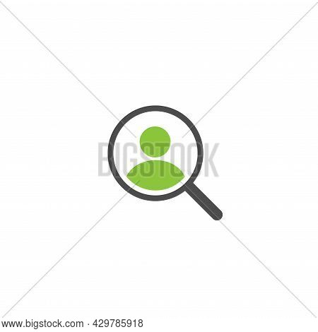 Recruitment Icon. Magnifier With Human Isolated On White. Magnifying Glass Icon. Find People, Human