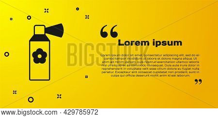 Black Air Freshener Spray Bottle Icon Isolated On Yellow Background. Air Freshener Aerosol Bottle. V