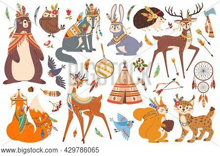 Cute Woodland Tribal Animals, Boho Tribe Forest Animal. Fox, Owl, Wolf, Bear, Deer Characters With A