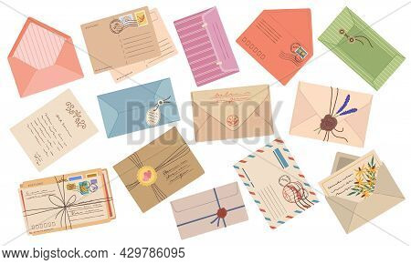 Envelopes, Paper Mail Letters, Postcards With Stamps And Postmarks. Handmade Wax Seal Envelope, Vint