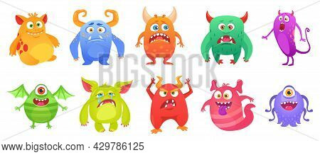 Cartoon Cute Monster Character With Funny Faces. Quirky Monsters, Ugly Scary Troll, Friendly Alien,