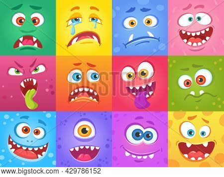 Cartoon Funny Monster Faces In Squares, Cute Monsters Characters. Halloween Spooky Face, Creatures W