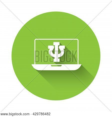 White Online Psychological Counseling Distance Icon Isolated With Long Shadow Background. Psychother