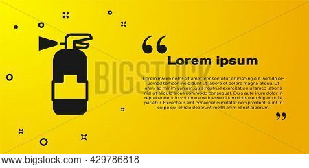 Black Fire Extinguisher Icon Isolated On Yellow Background. Vector