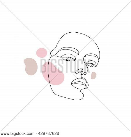 Vector Minimalist Style Portrait. Line, Continuous Linear Woman With Spots. Hand Drawn Abstract Femi