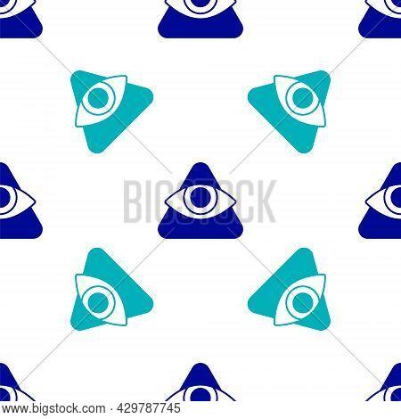 Blue Masons Symbol All-seeing Eye Of God Icon Isolated Seamless Pattern On White Background. The Eye