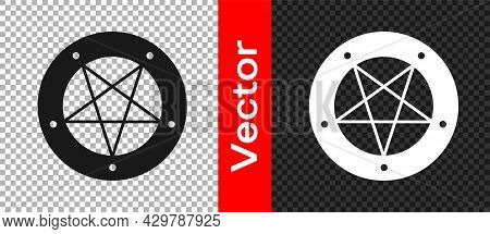 Black Pentagram In A Circle Icon Isolated On Transparent Background. Magic Occult Star Symbol. Vecto