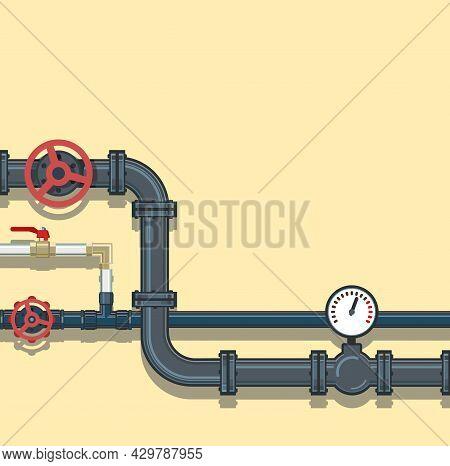 Water Fittings. Pipeline For Various Purposes. Pressure Gauge For Measurement And Water Taps. Illust