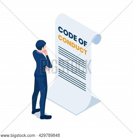 Flat 3d Isometric Businessman Reading Code Of Conduct Document.  Code Of Conduct And Business Ethics