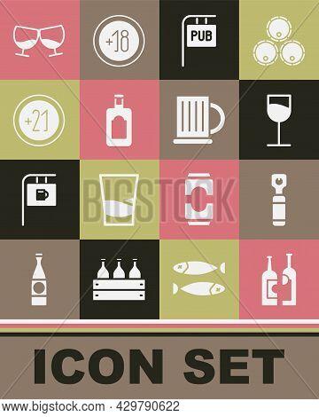 Set Bottles Of Wine, Opener, Wine Glass, Street Signboard With Pub, Whiskey Bottle, Alcohol 21 Plus,