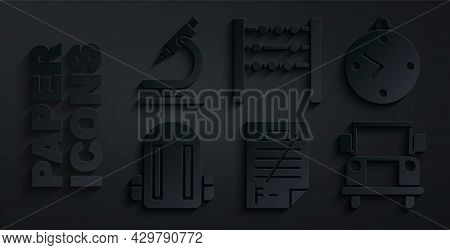 Set Exam Paper With Incorrect Answers, Clock, School Backpack, Bus, Abacus And Microscope Icon. Vect