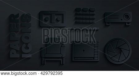 Set Online Play Video, Movie, Film, Media Projector, Cinema Chair, Camera Shutter, Auditorium With S