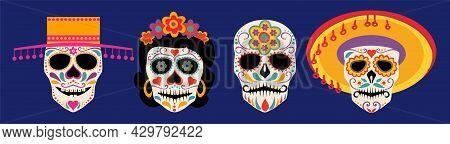 Vector Dia De Los Muertos, Day Of The Dead Or Mexico Halloween Skulls Collection. Decoration With So