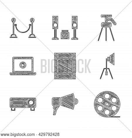 Set Play Video, Megaphone, Film Reel, Movie Spotlight, Movie, Film, Media Projector, Online Play Vid