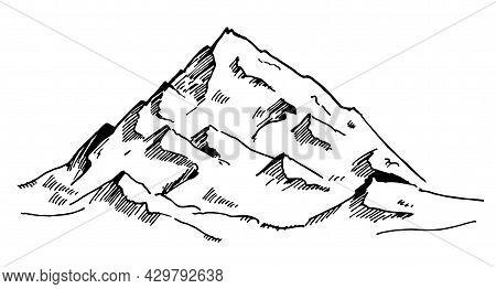 Black Drawn Mountains On A White Background. Mountains Sketch. Simple Modern Mountain Logo Design Ve